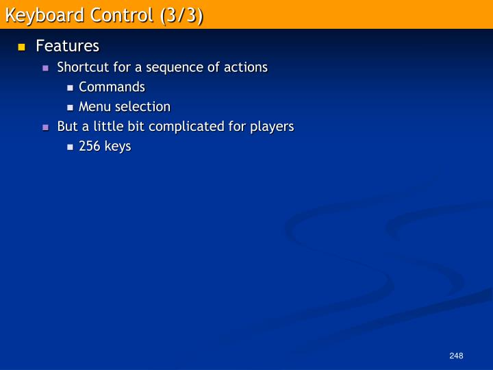 Keyboard Control (3/3)