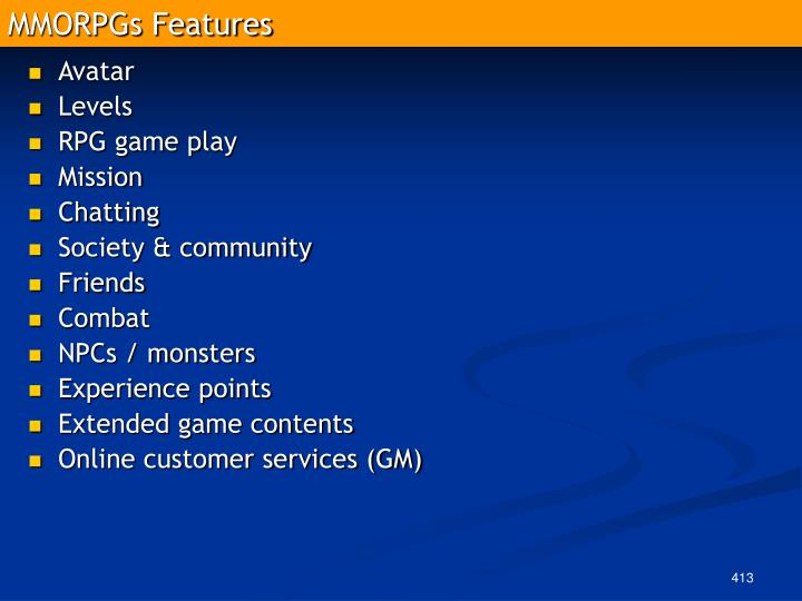 MMORPGs Features