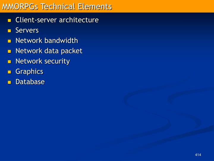 MMORPGs Technical Elements