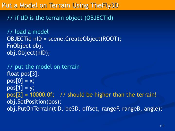 Put a Model on Terrain Using TheFly3D