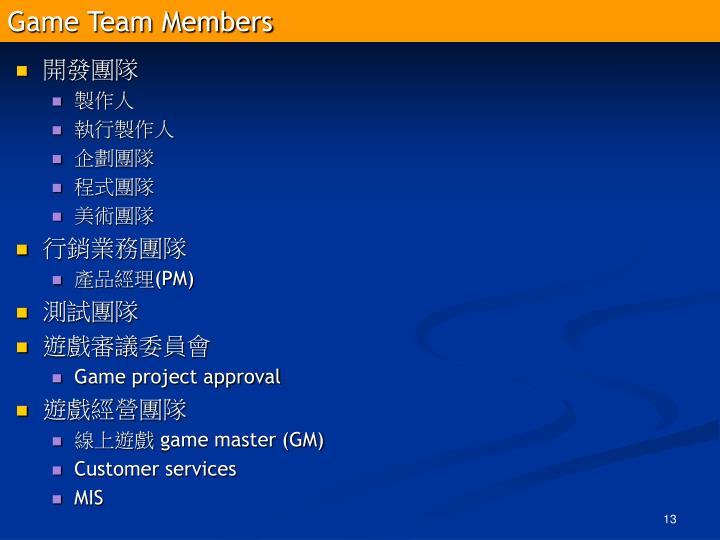 Game Team Members