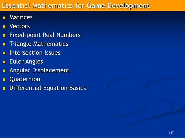 Essential Mathematics for Game Development