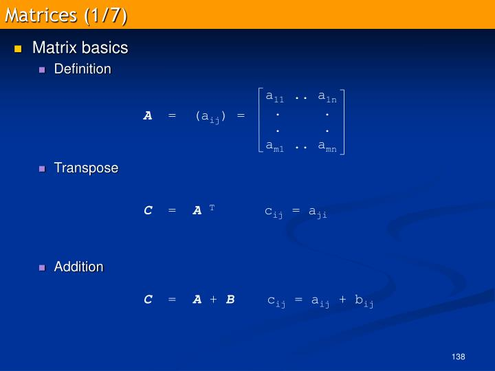 Matrices (1/7)