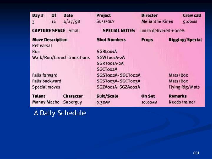 A Daily Schedule