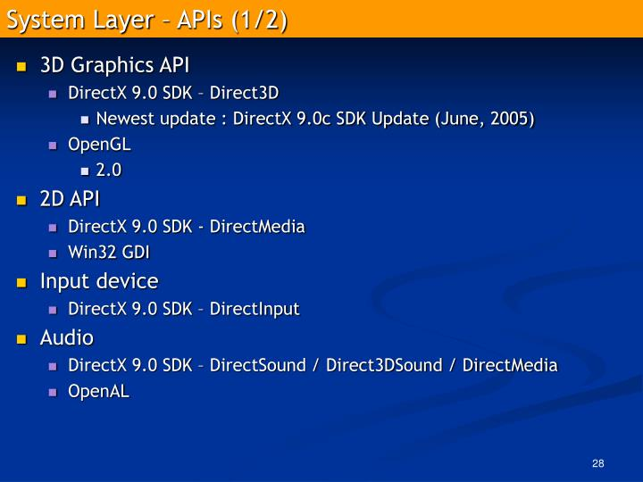 System Layer – APIs (1/2)