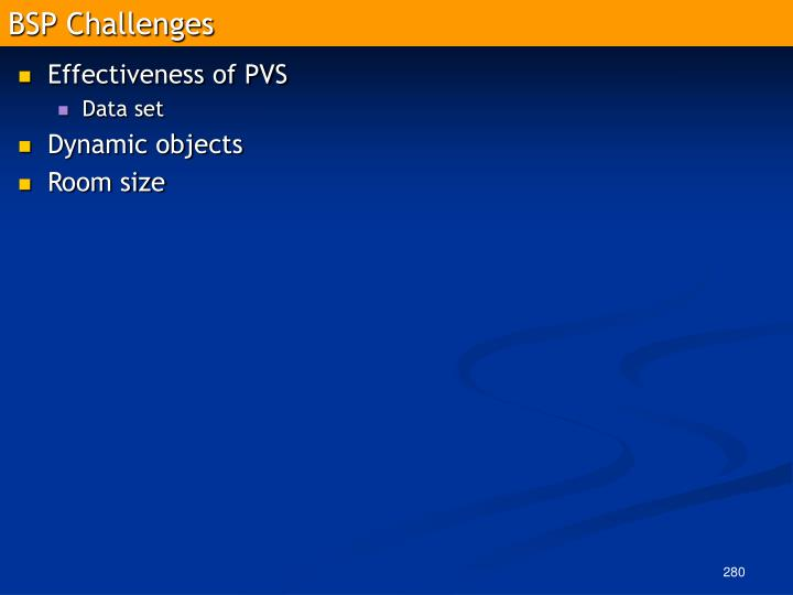 BSP Challenges