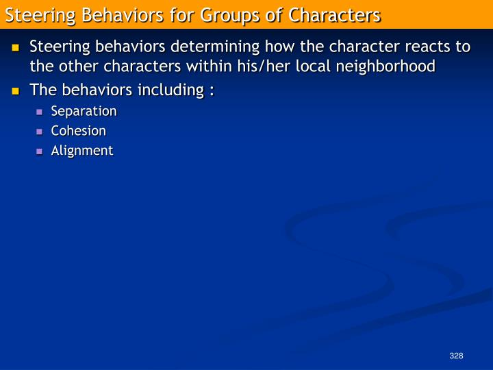 Steering Behaviors for Groups of Characters