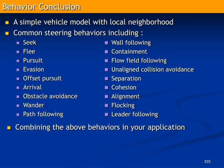 Behavior Conclusion
