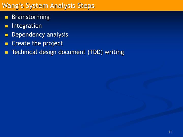 Wang's System Analysis Steps