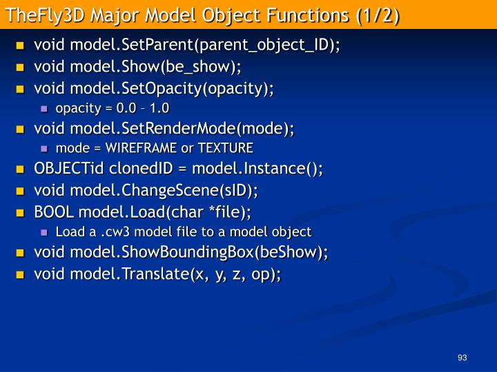 TheFly3D Major Model Object Functions (1/2)