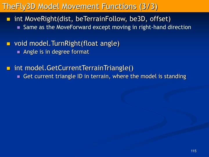TheFly3D Model Movement Functions (3/3)