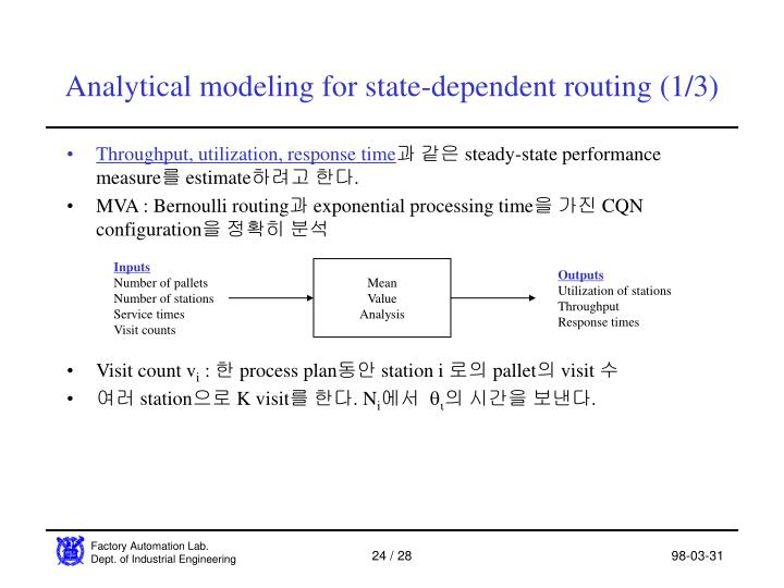 Analytical modeling for state-dependent routing (1/3)