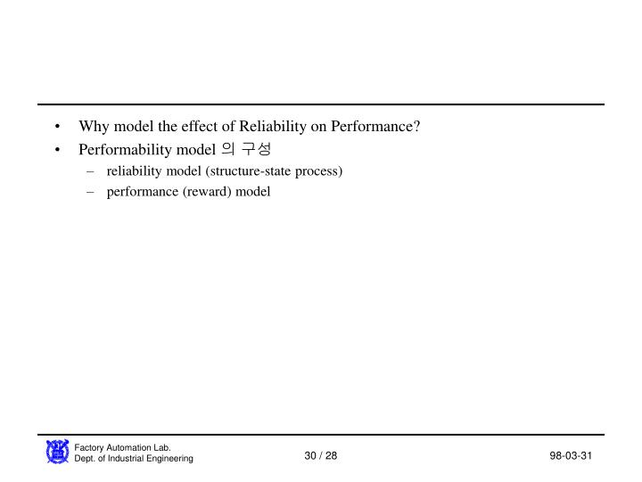 Why model the effect of Reliability on Performance?