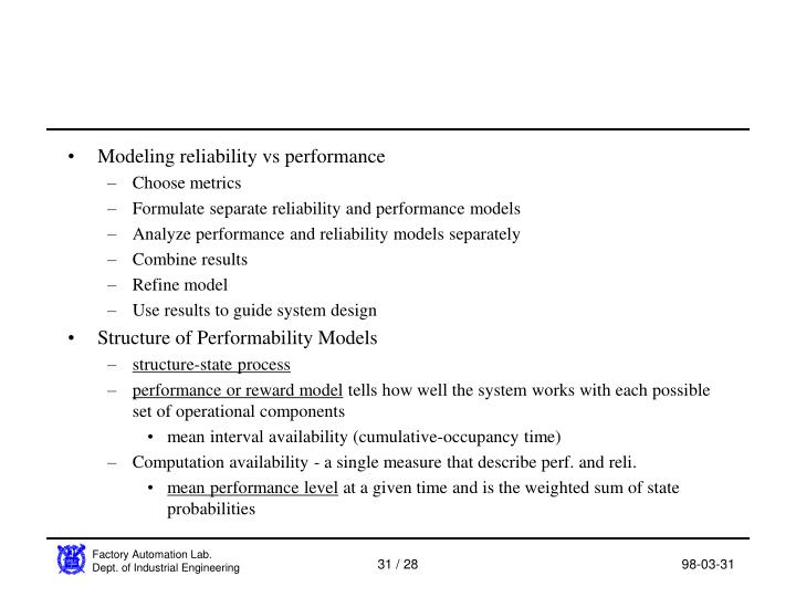 Modeling reliability vs performance