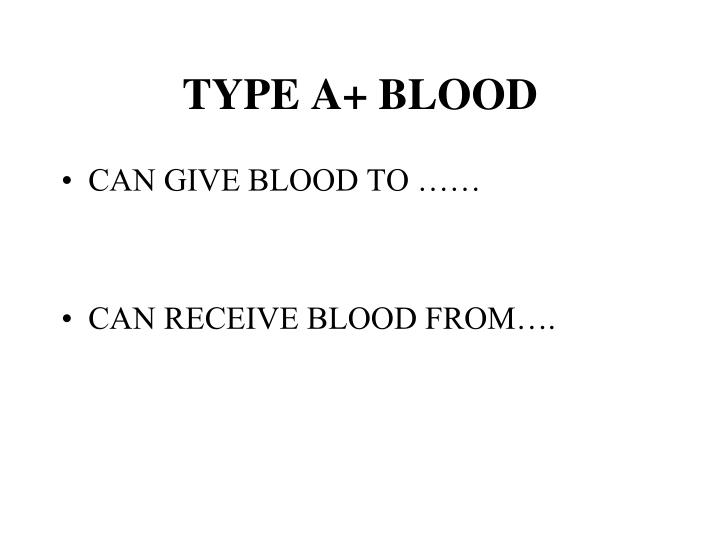 TYPE A+ BLOOD
