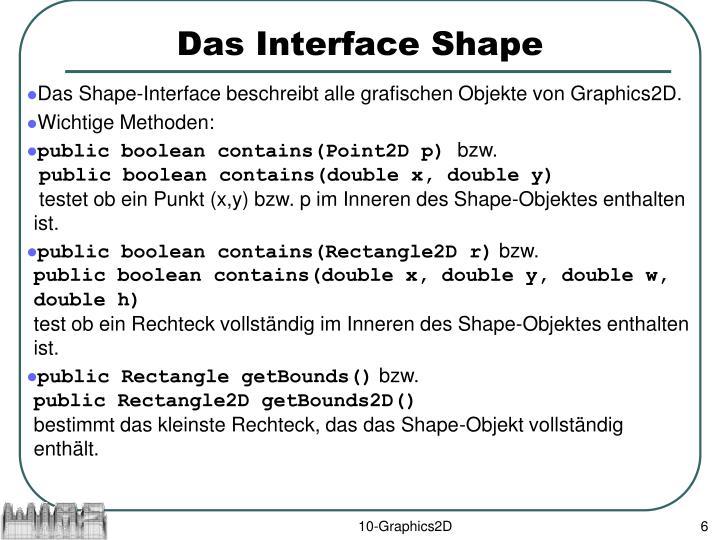 Das Interface Shape
