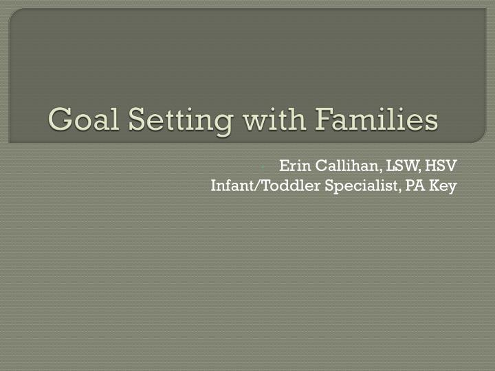 Goal Setting with Families