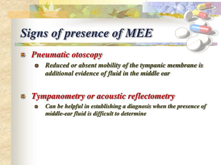 Signs of presence of MEE