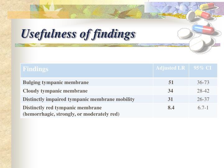 Usefulness of findings