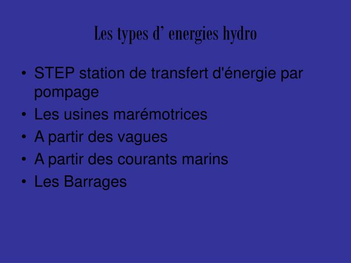 Les types d energies hydro