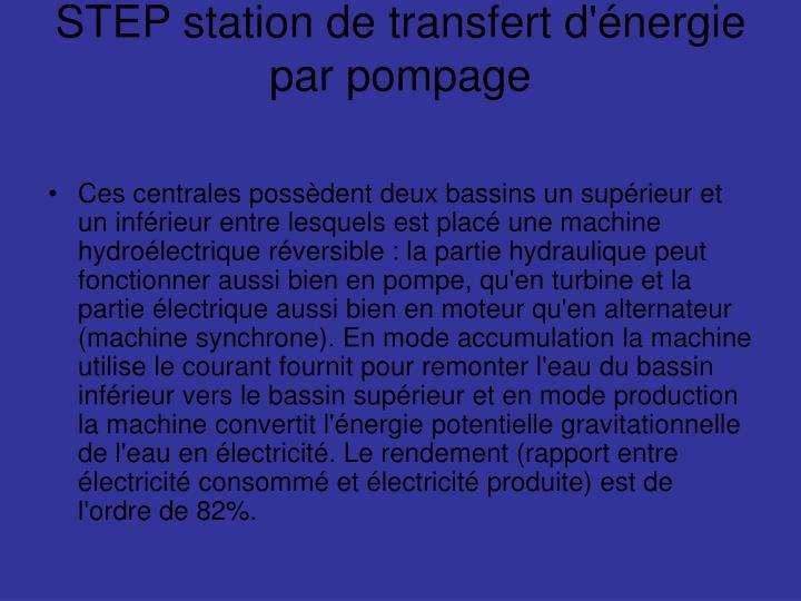 STEP station de transfert d'énergie par pompage