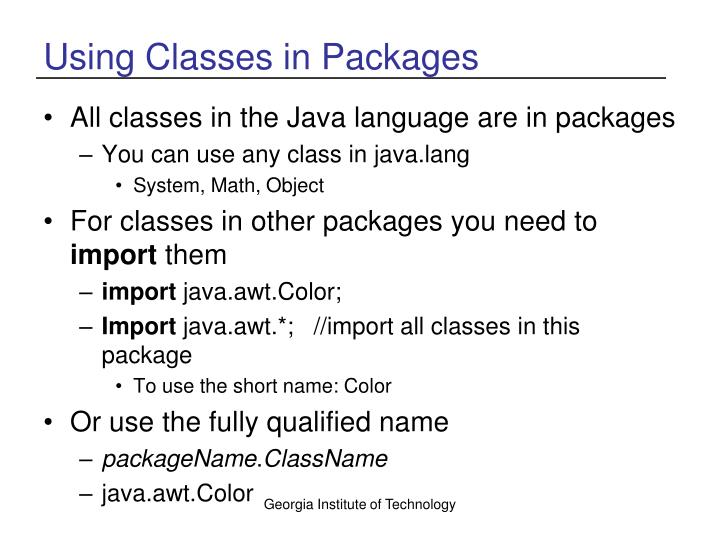 Using Classes in Packages