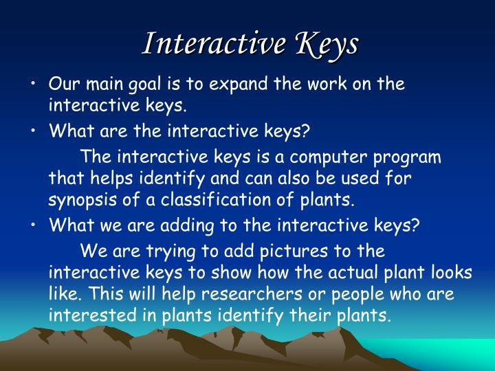 Interactive Keys