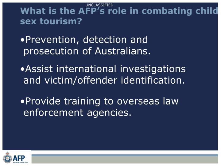 What is the AFP's role in combating child sex tourism?