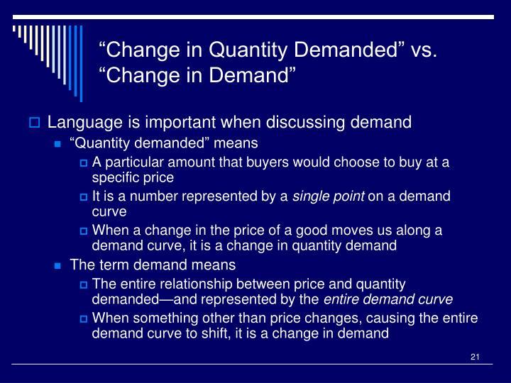 """Change in Quantity Demanded"" vs. ""Change in Demand"""
