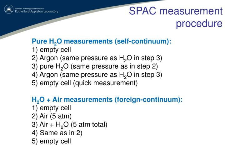 SPAC measurement procedure