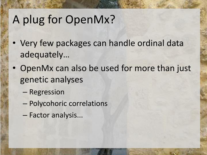 A plug for openmx