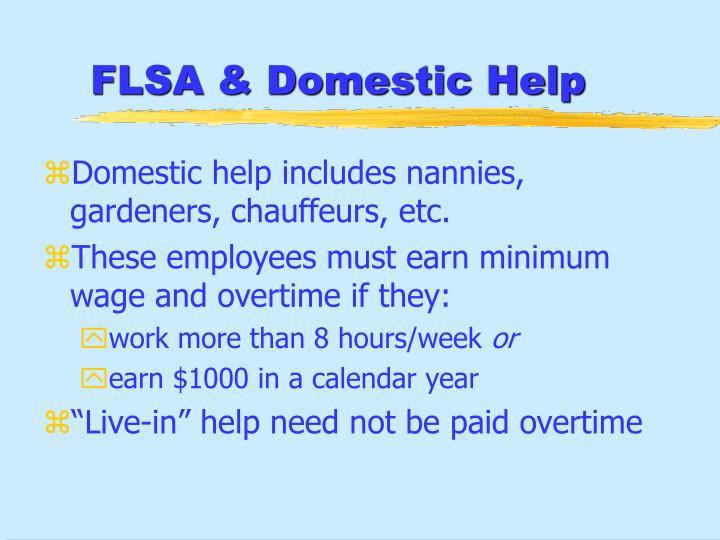 FLSA & Domestic Help