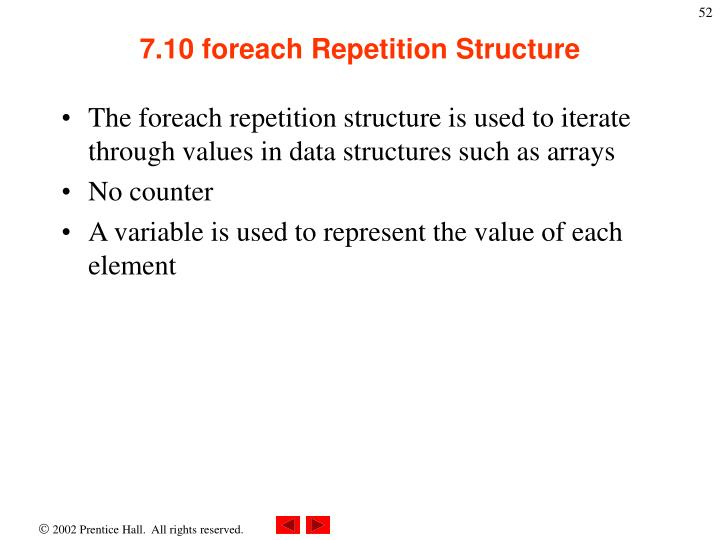 7.10 foreach Repetition Structure