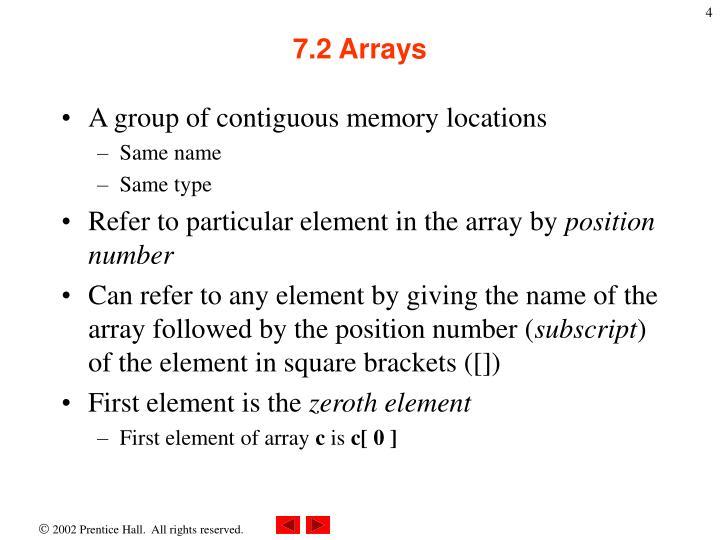 7.2 Arrays