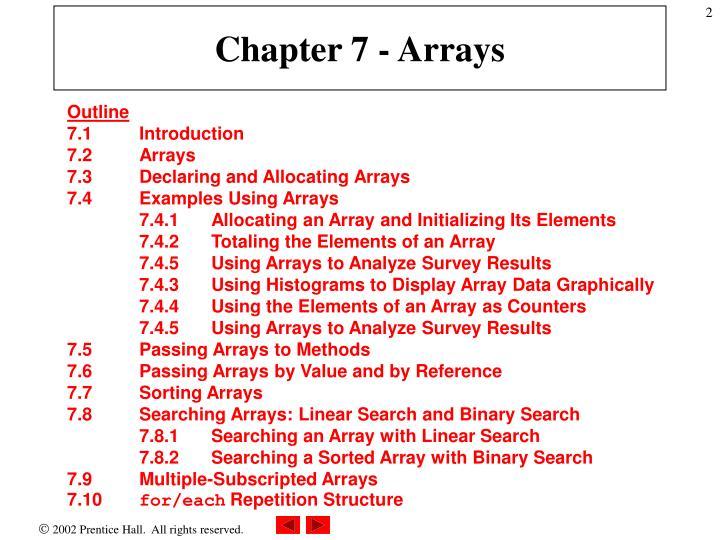Chapter 7 - Arrays