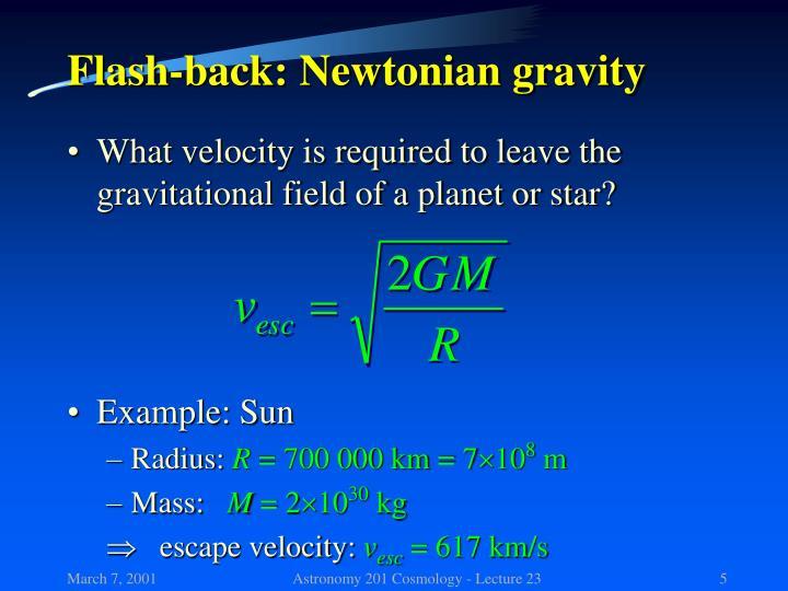 Flash-back: Newtonian gravity