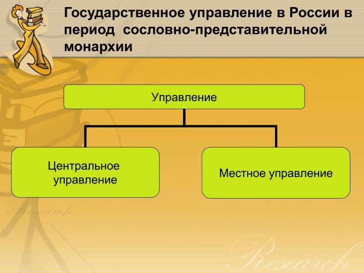 Государственное управление в России в период  сословно-представительной монархии