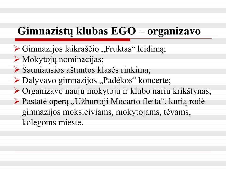 Gimnazistų klubas EGO – organizavo