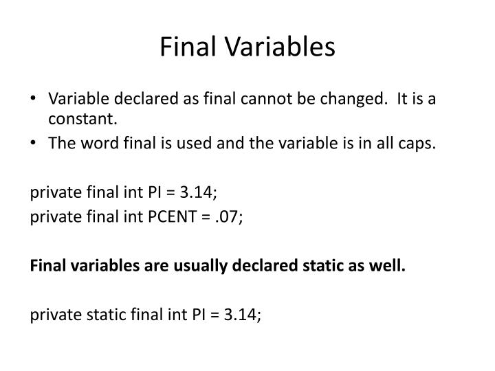 Final Variables