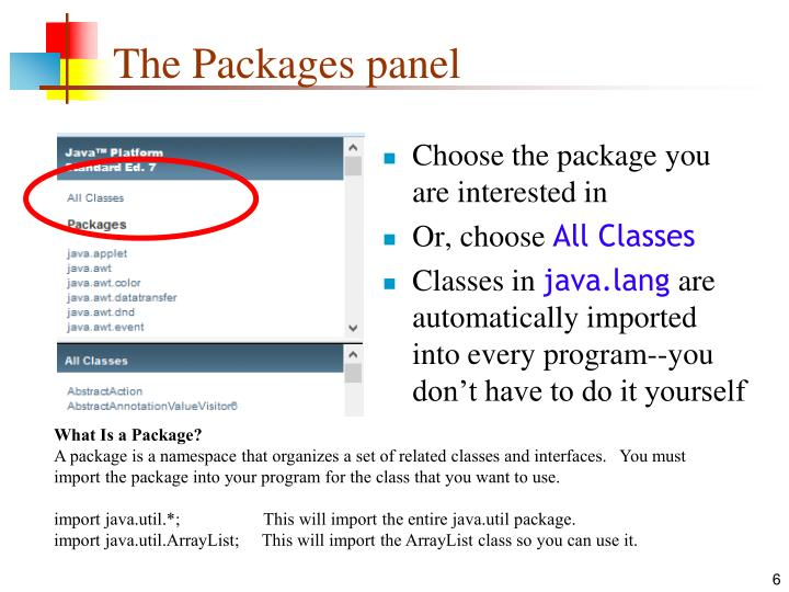 The Packages panel