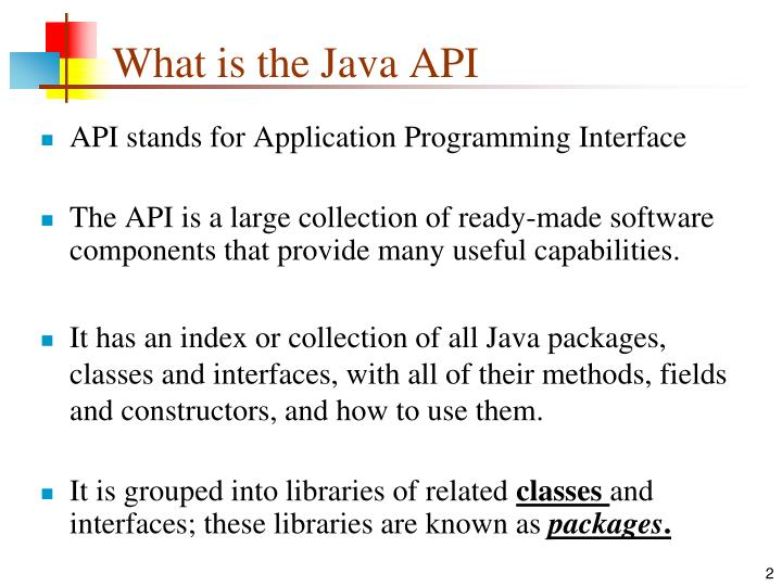 What is the java api