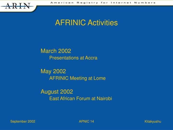 AFRINIC Activities