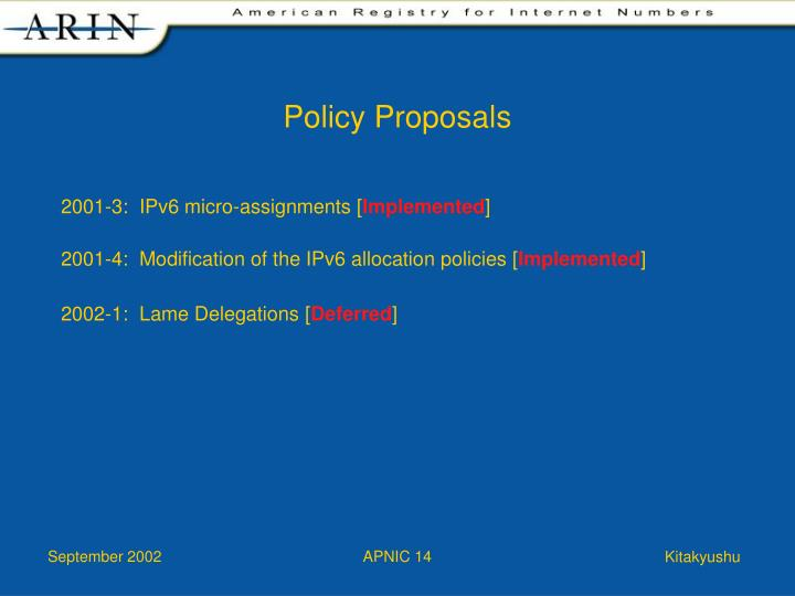Policy Proposals