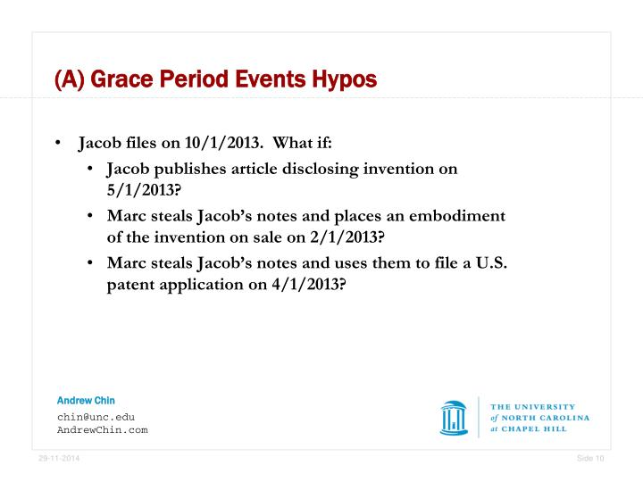 (A) Grace Period Events Hypos