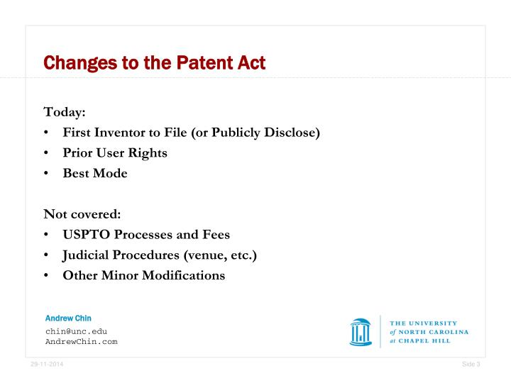 Changes to the Patent Act