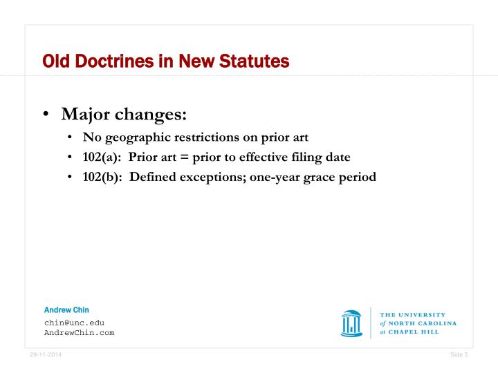 Old Doctrines in New Statutes