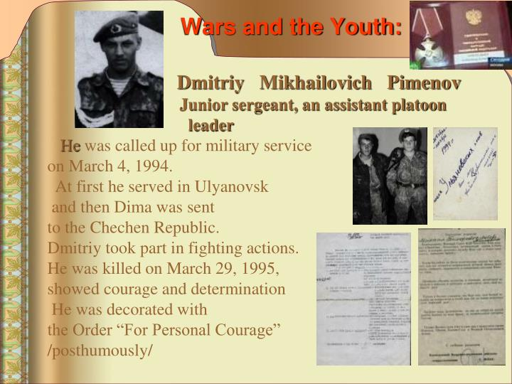 Wars and the Youth: