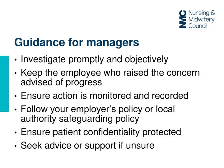 Guidance for managers