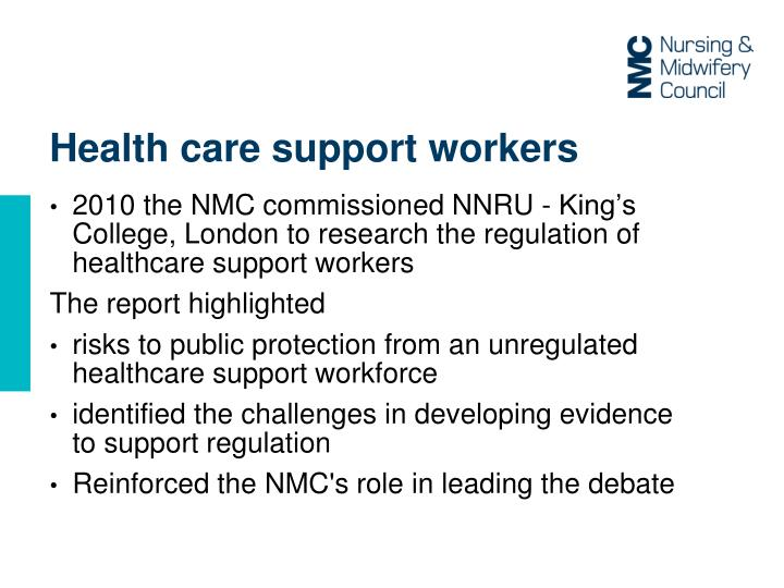 Health care support workers