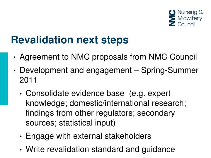 Revalidation next steps